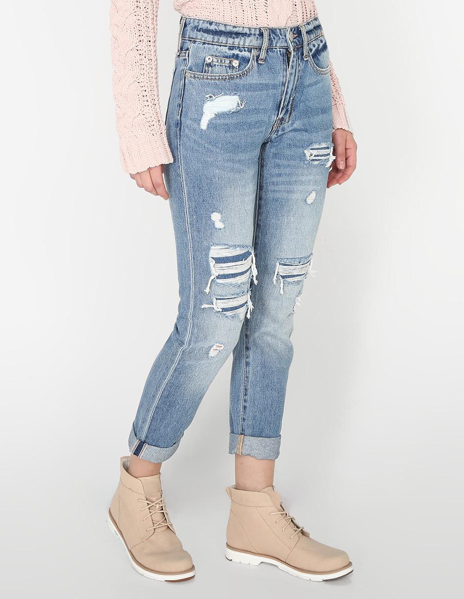 Jeans Aeropostale Corte Boyfriend Azul Medio En Liverpool